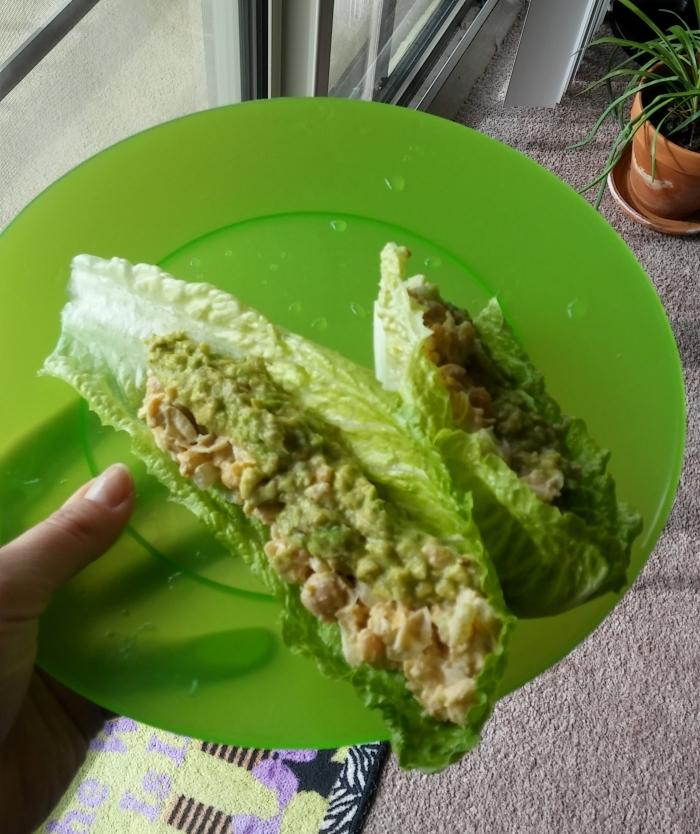 Vegetarian Tuna Salad Romaine…Boats.