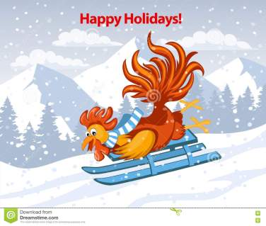 happy-holidays-merry-christmas-happy-new-year-greeting-card-cute-funny-rooster-riding-sled-downhill-snow-mountains-78863988